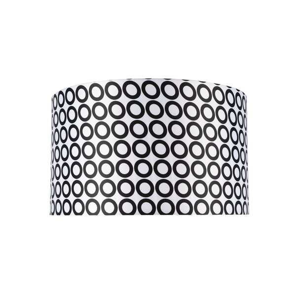10 H Sateen Fabric Drum Lamp Shade ( Spider ) in Black/White