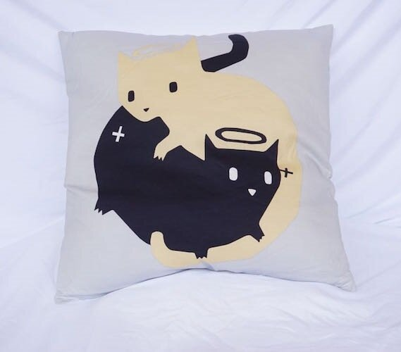 Stubblefield Good Cat Bad Cat Cotton Throw Pillow by Wrought Studio