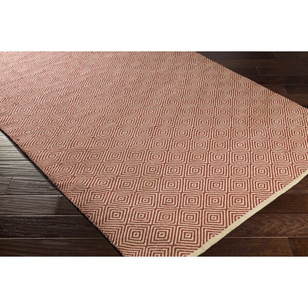 Waverly Hand-Woven Neutral/Red Area Rug by Bungalow Rose