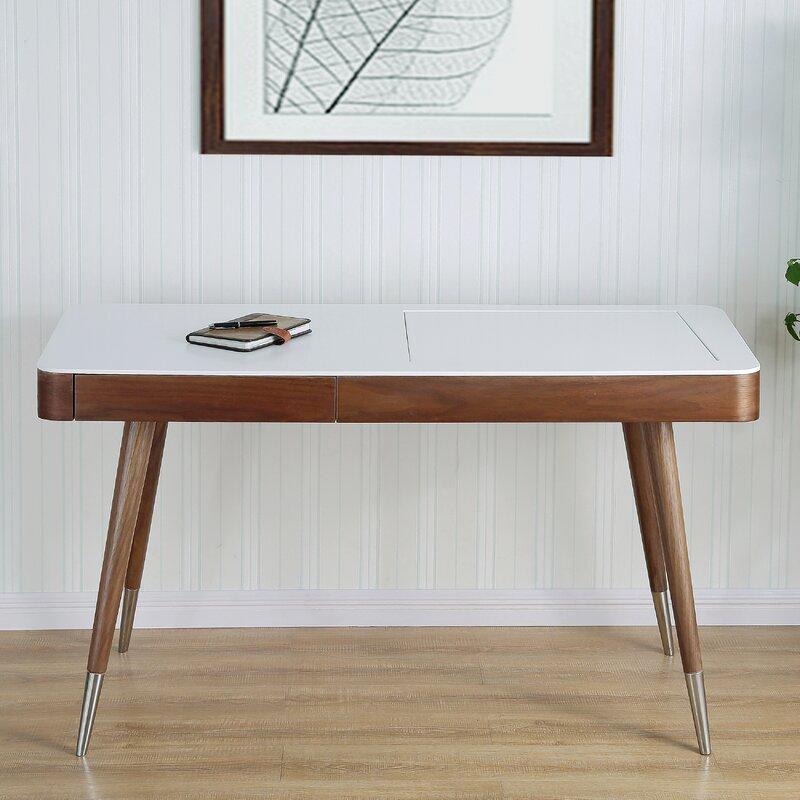 Beautiful High Gloss Desk Veneer Solid Wood Legs Vanity Set With Mirror