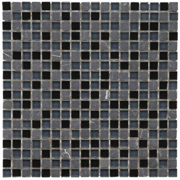 Sierra 0.58 x 0.58 Glass and Natural Stone Mosaic Tile in Black/Blue by EliteTile