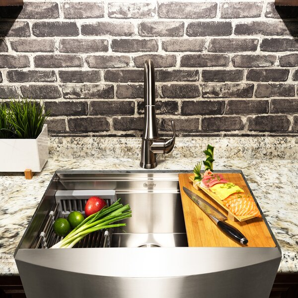 33 x 20 Farmhouse Kitchen Sink with Drain Strainer by AKDY
