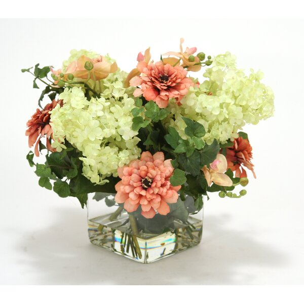Waterlook Coral, Pink Hydrangeas in Glass Cube by Distinctive Designs