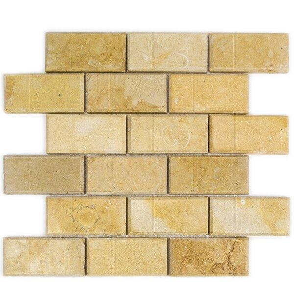 2 x 4 Beveled Marble Mosaic Tile in Jerusalem Gold by Splashback Tile