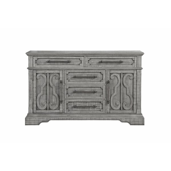 Flinn Raised Scrolled Inlays with 5 Drawer and Beveled Accent in Combo Dresser by Ophelia & Co.