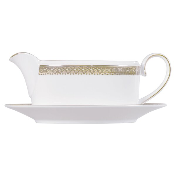 Vera Lace Gold Gravy Boat Stand by Vera Wang