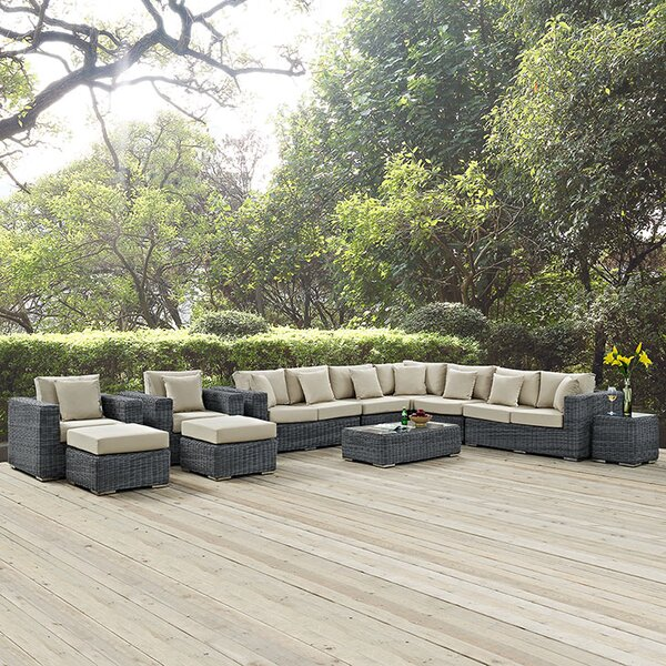 Keiran 11 Piece Sunbrella Sectional Seating Group with Sunbrella Cushions by Brayden Studio