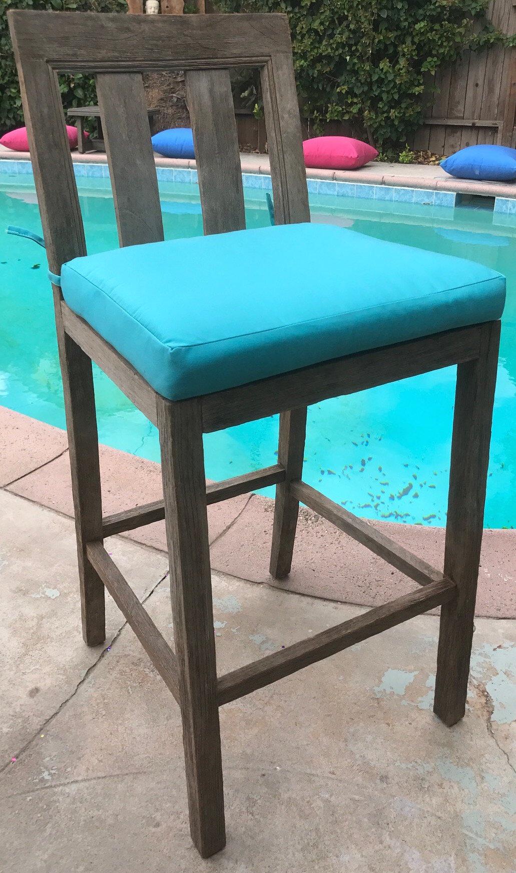 Fine Yandell Teak Outdoor 29 Patio Bar Stool With Cushion Bralicious Painted Fabric Chair Ideas Braliciousco