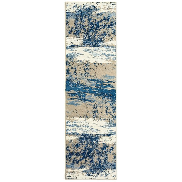 Rockford Power Loom Light Beige/Soft Blue Rug
