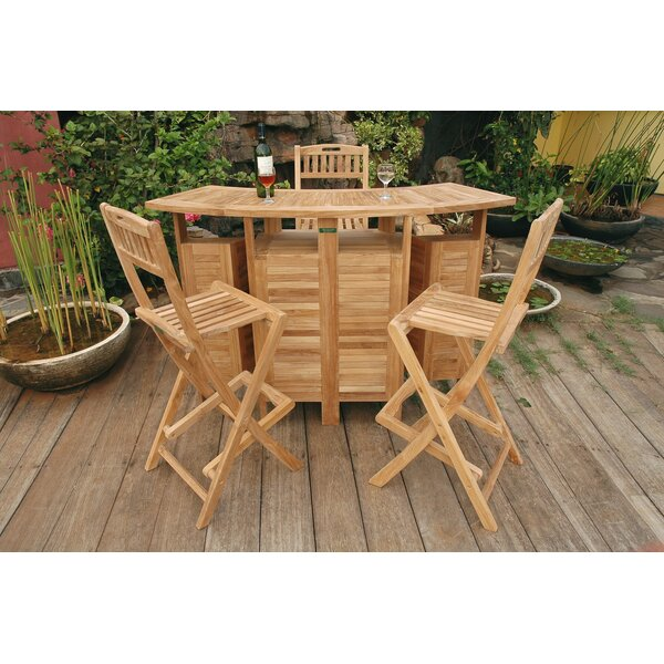 Bourke Teak 3 Piece Bar Set by Freeport Park