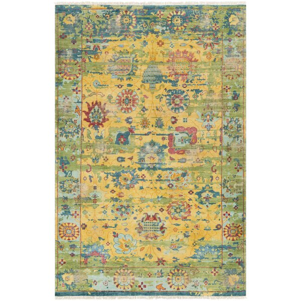 Makenna Hand-Knotted Bright Yellow/Grass Green Area Rug by Bungalow Rose
