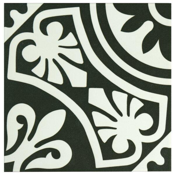 Seni Tiena 9.75 x 9.75 Porcelain Patterned Tile in Black/White by EliteTile