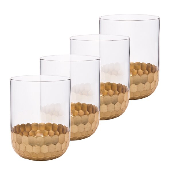 Fairview Gold Plated Drinking 12 oz. Glass Cocktail Glasses (Set of 4) by Mercer41