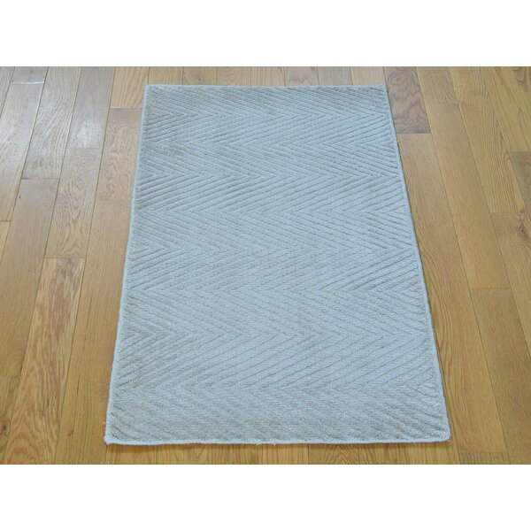 One-of-a-Kind Bean Art Handwoven Ivory Silk Area Rug by Isabelline