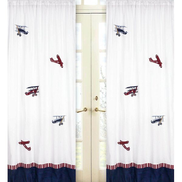 Vintage Aviator Graphic Print & Text Semi-Sheer Rod pocket Curtain Panels (Set of 2) by Sweet Jojo Designs