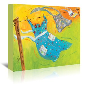 'Blowing Laundry' Painting Print on Wrapped Canvas by East Urban Home