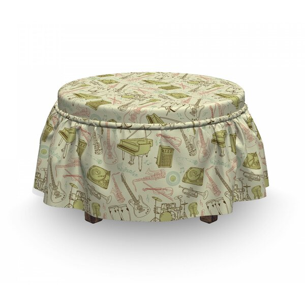 Jazz Music Doodle Equipment 2 Piece Box Cushion Ottoman Slipcover Set By East Urban Home