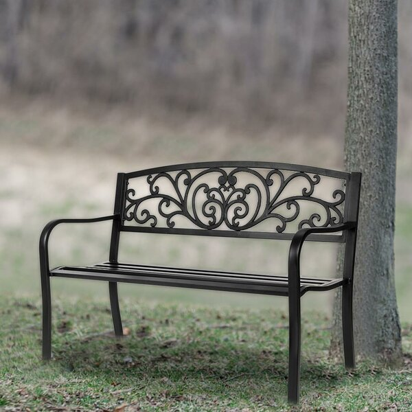 Migel Powder-Coat Steel Park Bench by Fleur De Lis Living