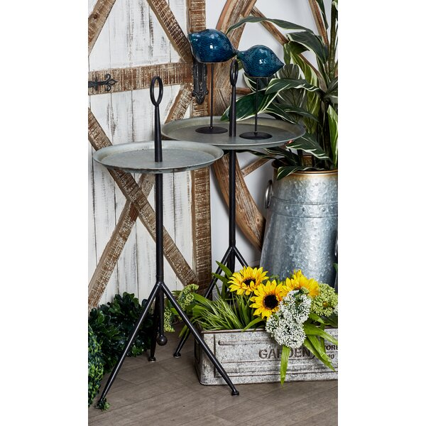 Knollcrest Modern Tripod Gray Round Tray Table by Charlton Home