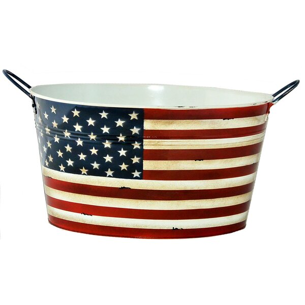 Stars and Stripes Metal Pot Planter by VCS