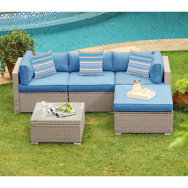 Yuri Outdoor Furniture 5 Piece Rattan Sectional Seating Group with Cushions by Rosecliff Heights