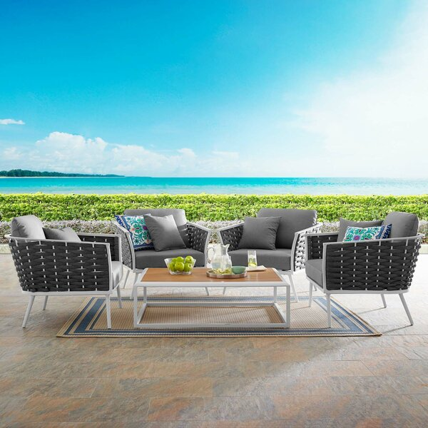 Comanche Stance Outdoor 5 Piece Multiple Chairs Seating Group with Cushions by Brayden Studio