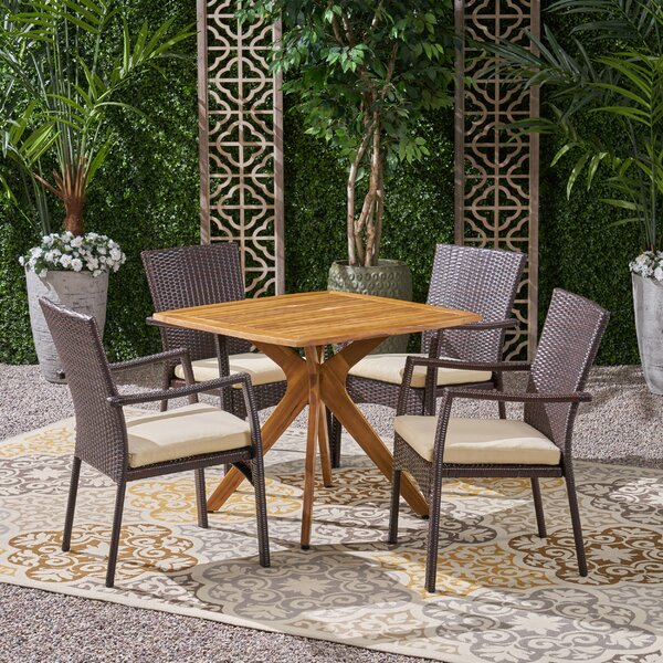 Jolien 5 Piece Dining Set with Cushions by Wrought Studio