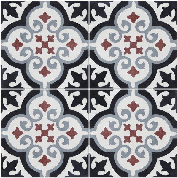 Fiore E Winter 8 x 8 Cement Field Tile in Black/White by Villa Lagoon Tile