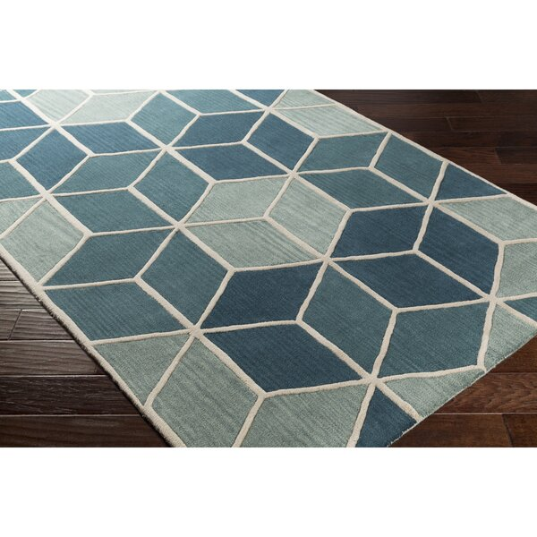 Vaughan Hand-Tufted Blue/Green Area Rug by Wrought Studio