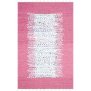 Static Hand-Woven Wool Pink/White Area Rug