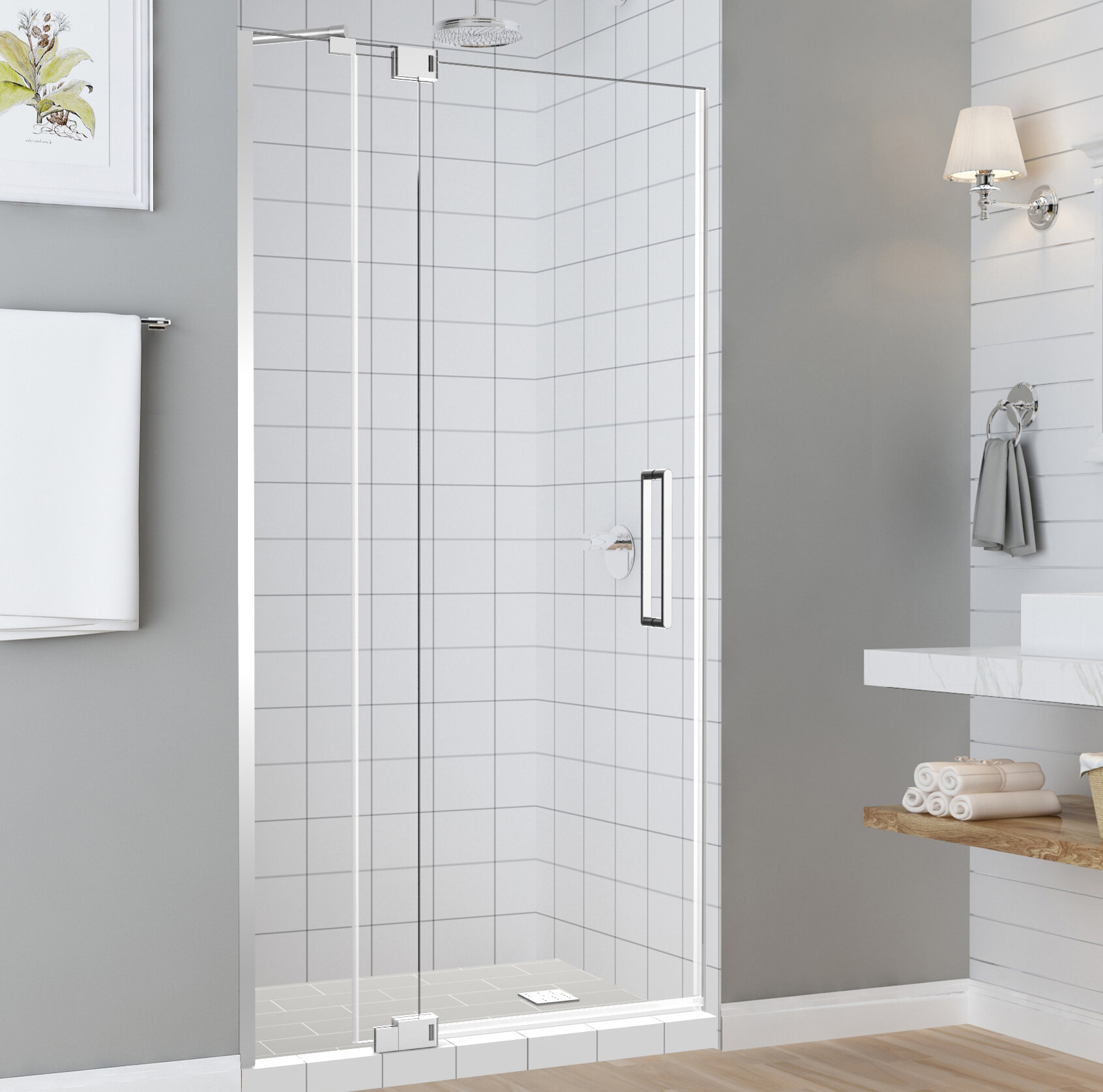 Madox 36 X 76 Hinged Frameless Shower Door