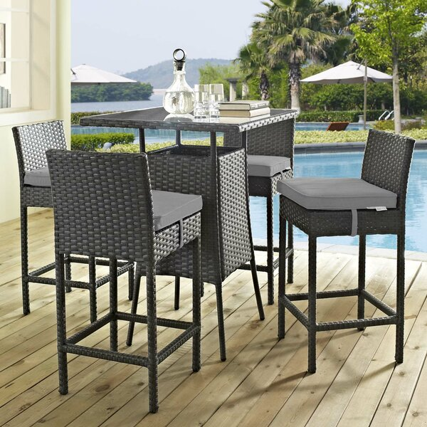 Tripp 5 Piece Bar Height Dining Set with Sunbrella Cushions by Brayden Studio