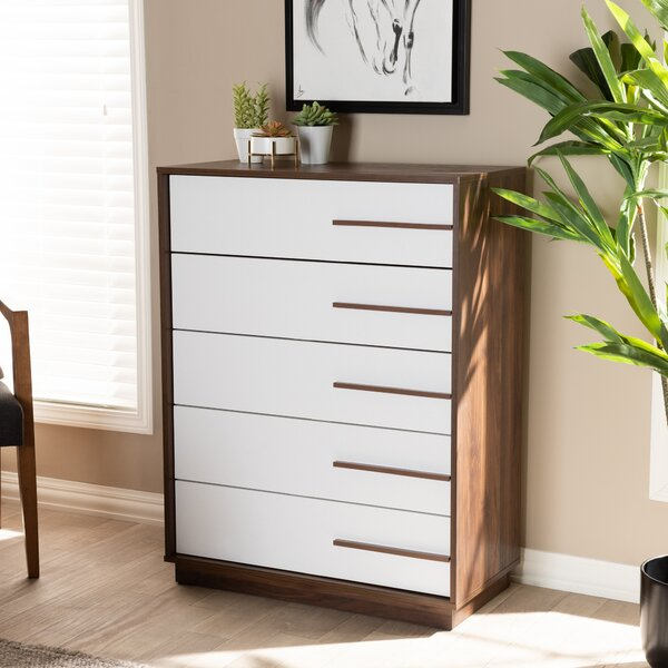 Johnathon Mid-Century Modern Two-Tone Wood 5 Drawer Chest by Wrought Studio
