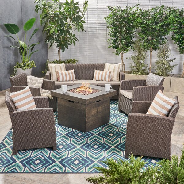 Merriweather 6 Piece Rattan Sofa Seating Group with Cushion by Gracie Oaks