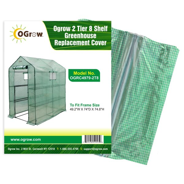 2 Tier 8 Shelf Greenhouse PE Replacement Cover by OGrow