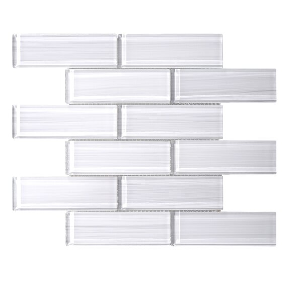 Hand Painted Series 2 x 6 Hand Painted Glass Subway Tile in White by WS Tiles