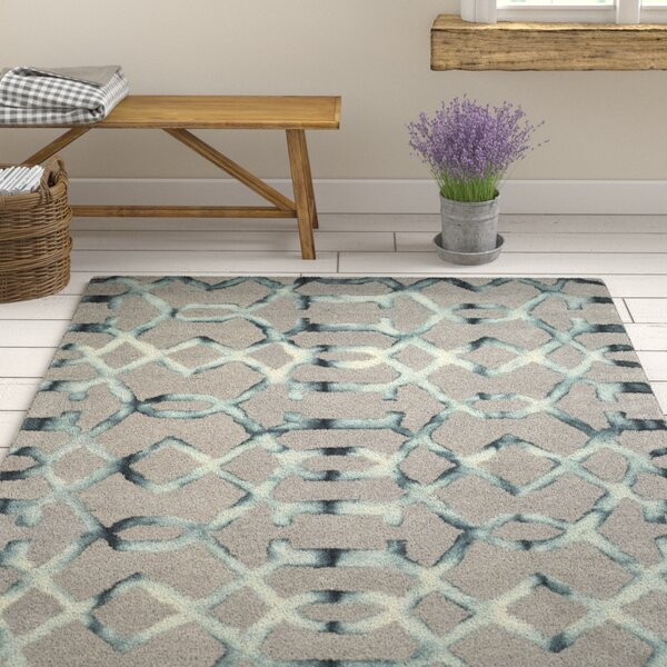 Kinder Hand-Tufted Gray/Charcoal Wool Area Rug by Ophelia & Co.