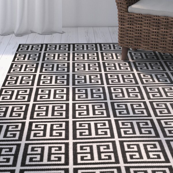 Royalton Hand-Woven Black/Ivory Area Rug by Breakwater Bay