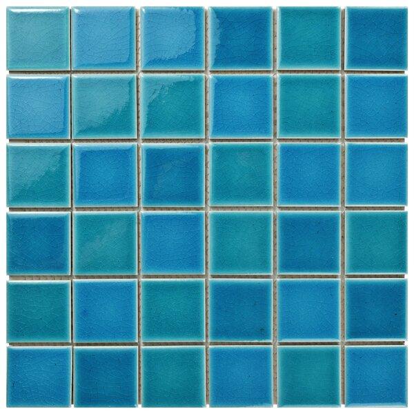 """Enclave 1.88"""" x 1.88"""" Porcelain Mosaic Tile in Blue/Teal by EliteTile"""