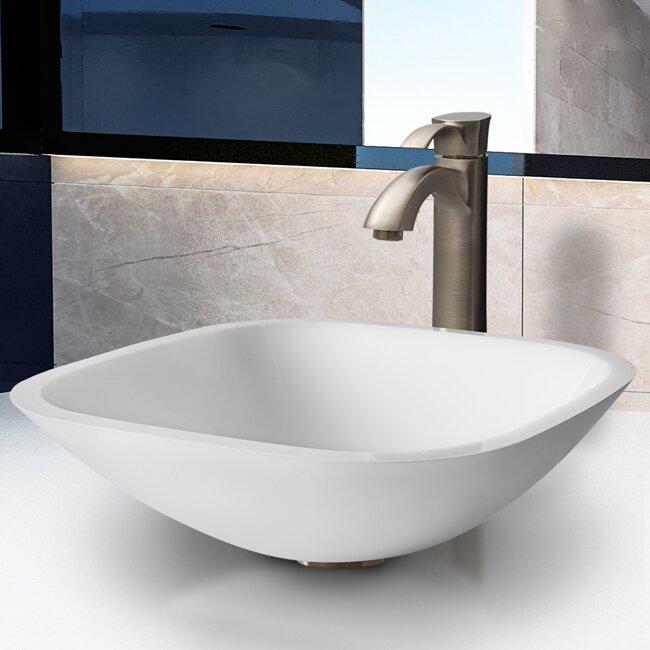 Bathroom Sinks Square vigo white phoenix stone square vessel bathroom sink & reviews