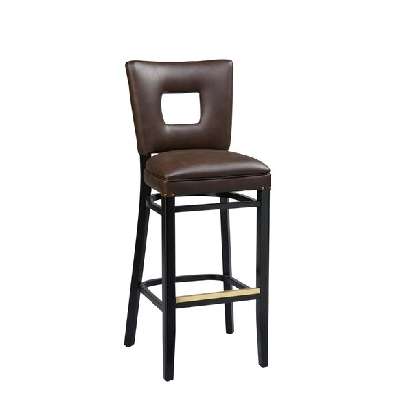 Dobbs Beechwood Square Open Back Bar Stool with Upholstered Seat by Latitude Run