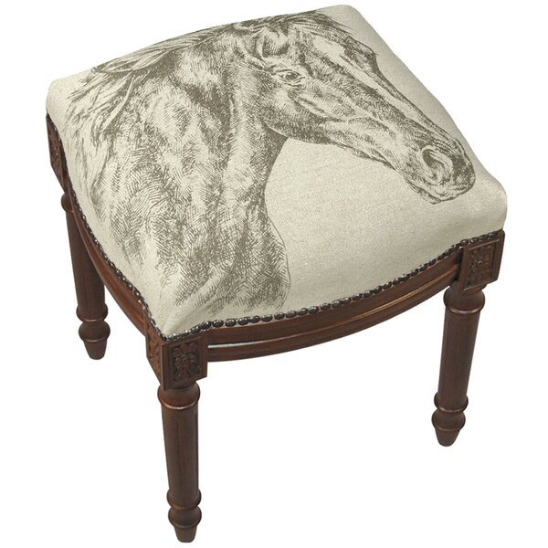 Equestrian Horse Linen Upholstered Wooden Vanity Stool by 123 Creations
