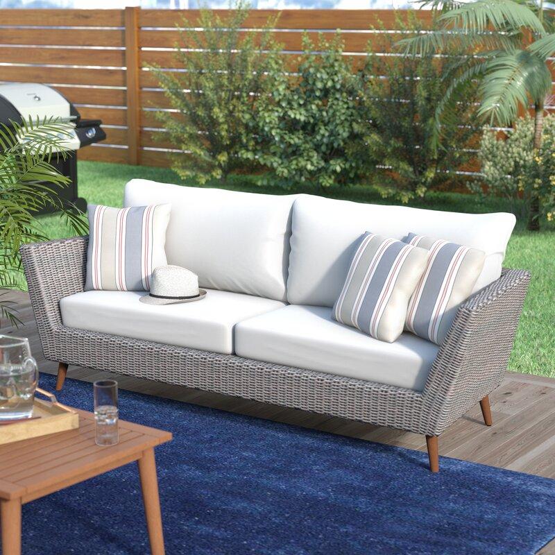 langley street newbury patio sofa with cushions reviews wayfair