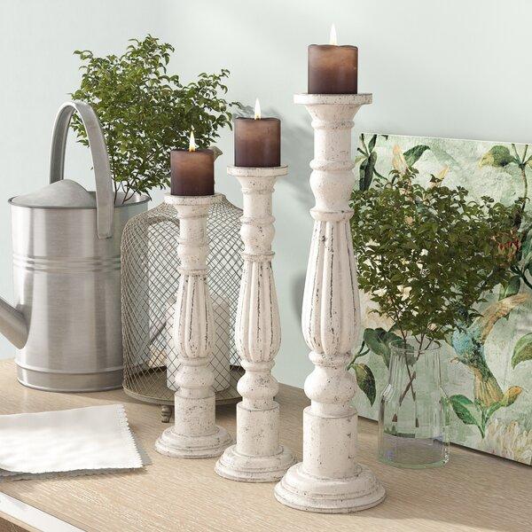 3 Piece Wood Candlestick Set by One Allium Way