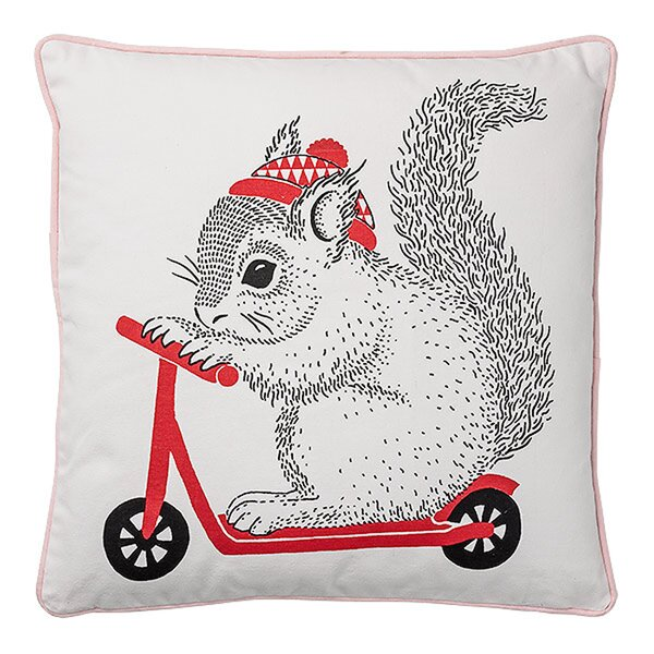Adan Squirrel on Scooter Cotton Throw Pillow by Viv + Rae
