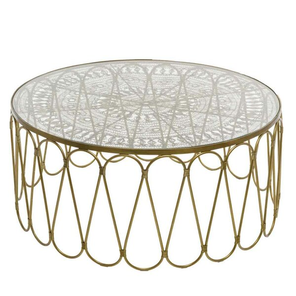 Cevenola Wire Work Coffee Table with Tray Top by Bungalow Rose Bungalow Rose