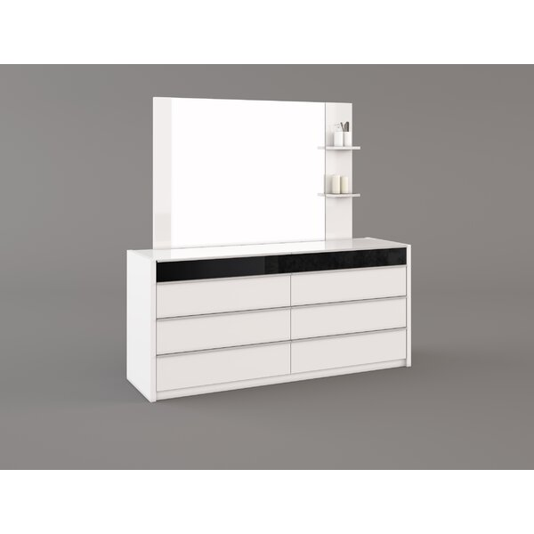 Shnorhk 6 Drawer Double Dresser with Mirror by Orren Ellis