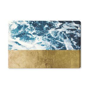 'Mykonos Water Gold' Graphic Art Print on Canvas by Ivy Bronx