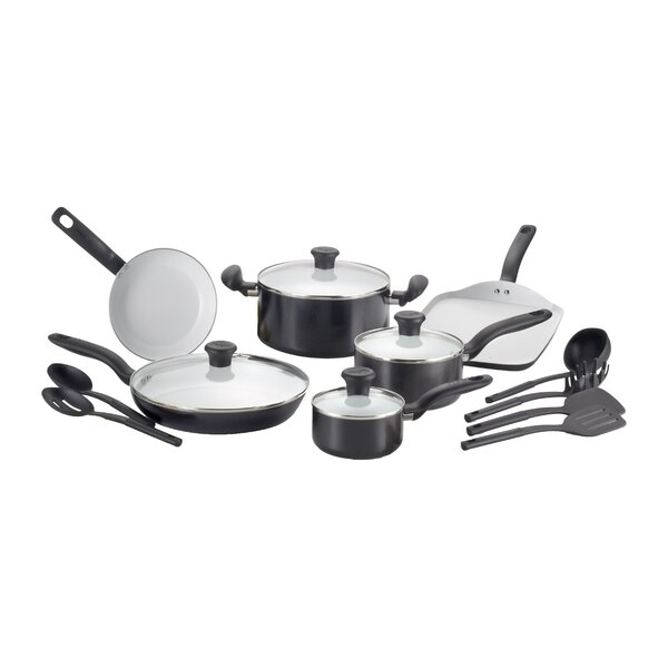 Initiatives Ceramic 16 Piece Cookware Set by T-fal