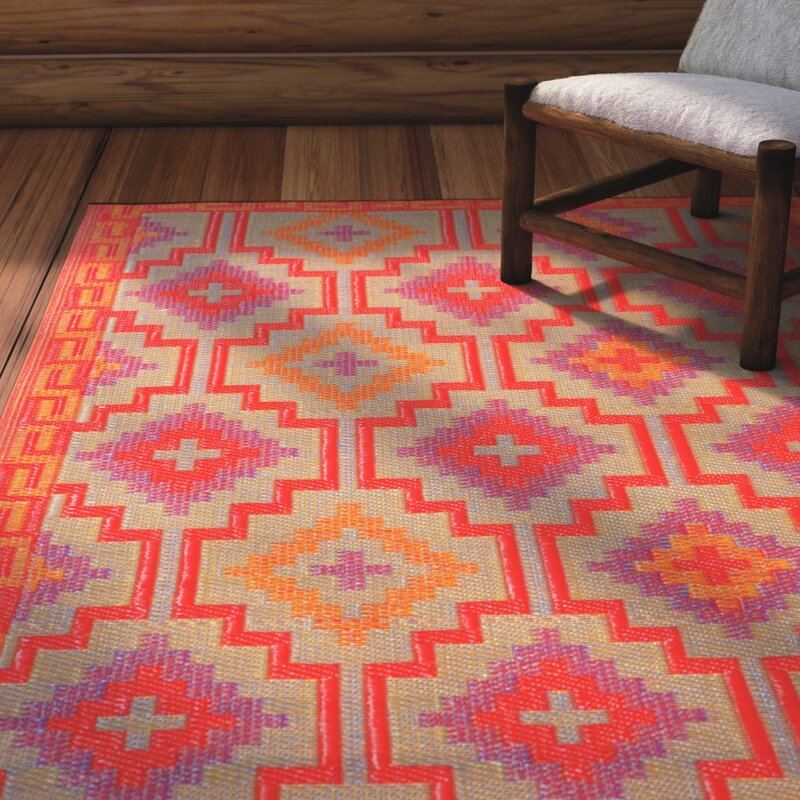 Loon Peak Patterson Reversible Red Indoor/Outdoor Area Rug ...